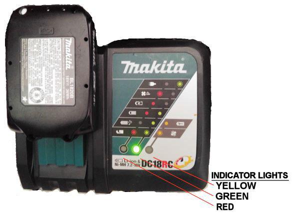 Makita charger lights